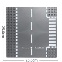 City Road Street Base Plate Straight Crossroad Curve T-Junction Compatible LegoING Baseplate Parts DIY Building Blocks Sets Toys(China)