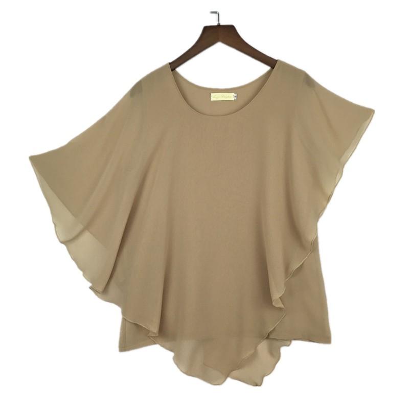 Plus Size - 16 Color Plus Size Ladies Chiffon Blouses Batwing Sleeve Tops Shirts Women Asymmetric Shirts (Us 6-24W)
