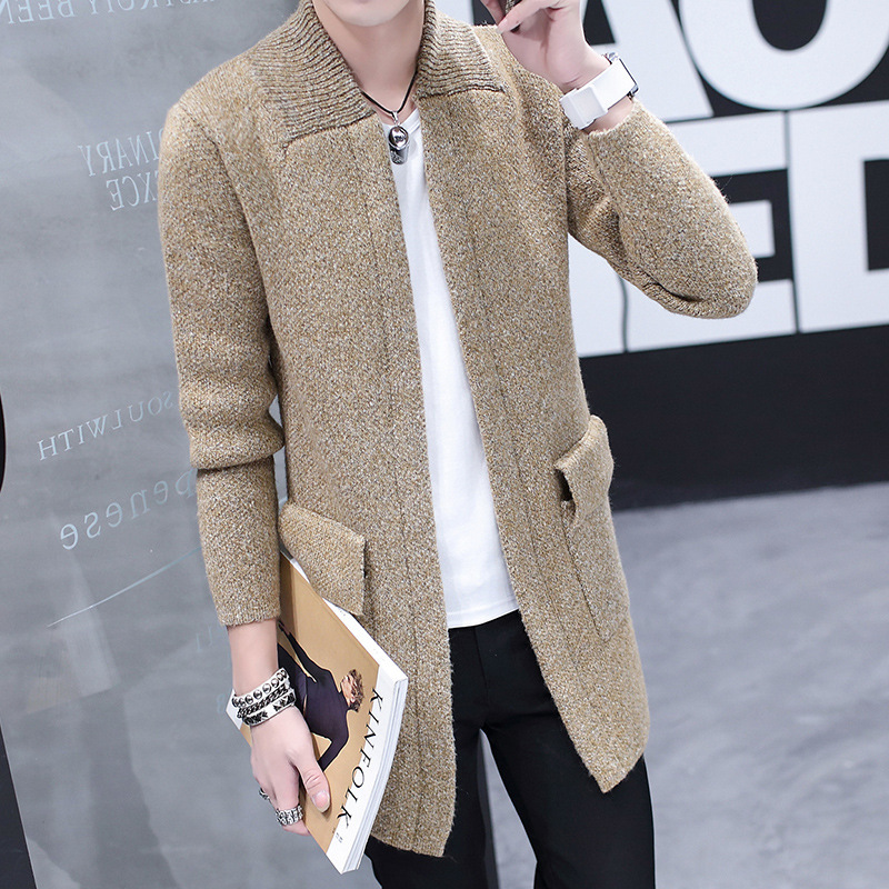 Fashion Warm Male Coat Long Knitting Cardigan Sweater In 2019 Male Pure Color Male Coat Of Cultivate One's Morality