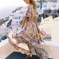 Boho Inspired Maxi Dress Women Sexy V Neck Floral Print Summer Dress Elastic Waist Tassel Back