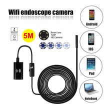WIFI Endoscope 720P HD Waterproof 8mm Pipeline Detection Camera For IOS / Android Hard Cable