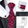 Paisley Bordeaux Negro Mens Corbatas y Gemelos con Blanco caja de Bolsa de Seda Para Los Hombres B-1155 Corbata Roja de Seda empate
