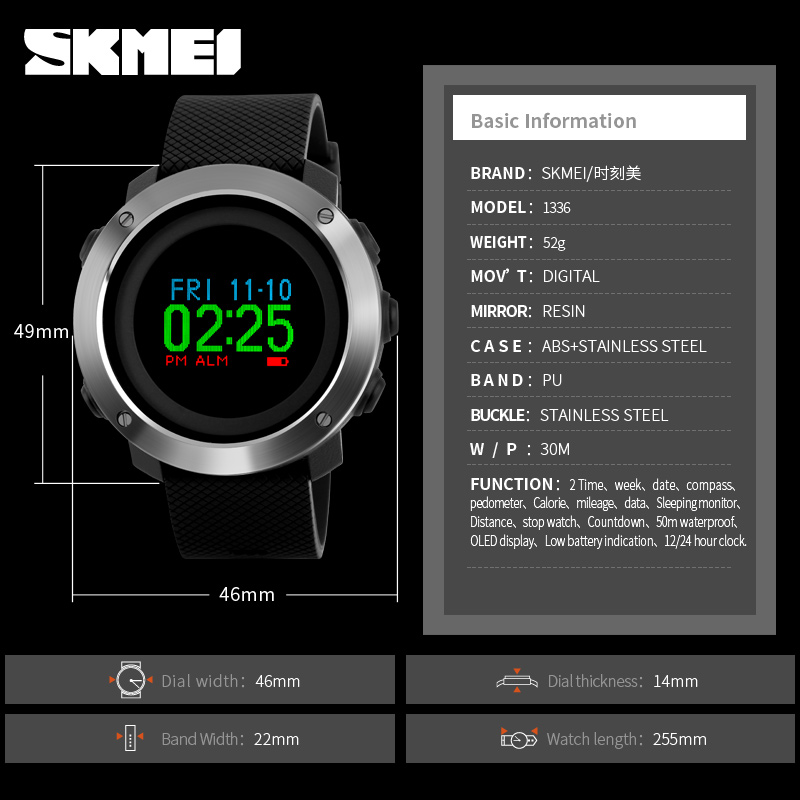 Mode Oled Display Sport Uhren Skmei Wasserdicht Kompass Pedometer Kalorie Digitale Uhr Luxus Marke Männlichen Uhren Uhr Männer Zu Verkaufen Uhren Herrenuhren