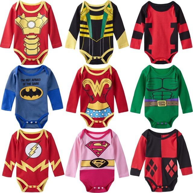 Baby Girl Boy Bodysuit Superhero Long Sleeves Deadpool
