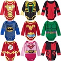 Baby Girl Boy Bodysuit Superhero Long Sleeves Onesie Deadpool Wonder Woman Hulk Harley Quinn