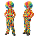 Funny Boys Girls Clown Costumes for Kids Circus Costume Party Supplies Top Jumpsuits Carnival Cosplay Clothes