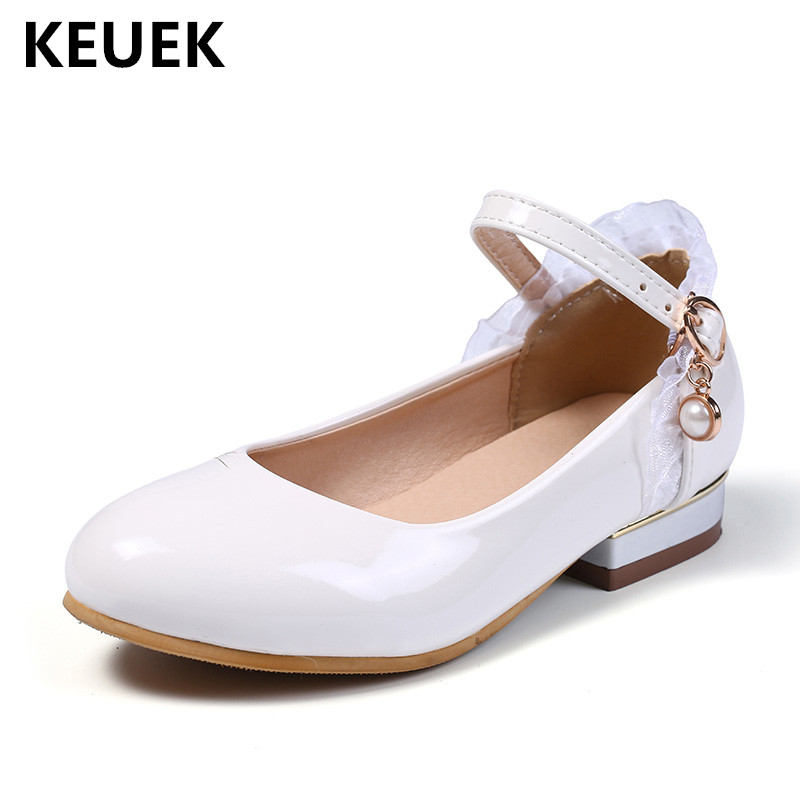 New Spring Black White Patent Leather Shoes Girls Kids High-heeled Performance School Student Dance Fashion Baby Children 041