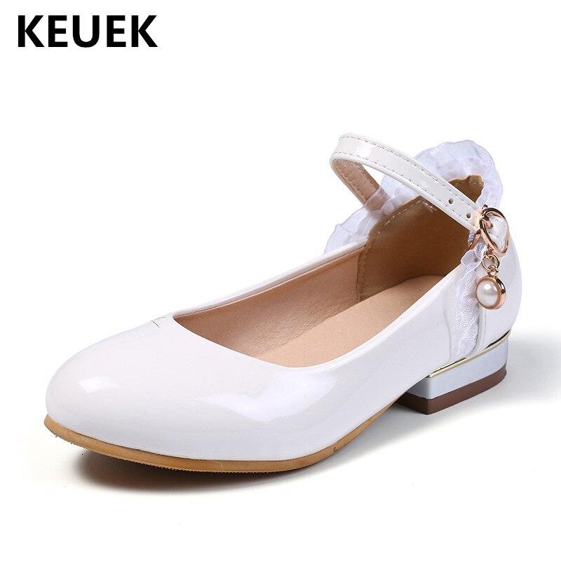 nova primavera sapatos de couro preto branco meninas criancas estudante da escola de alta salto alto