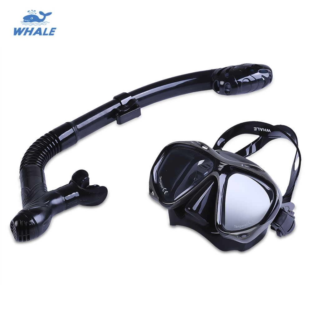WHALE Professional Diving Water font b Sports b font Training Silicone Mask Snorkel Glasses Set Swim