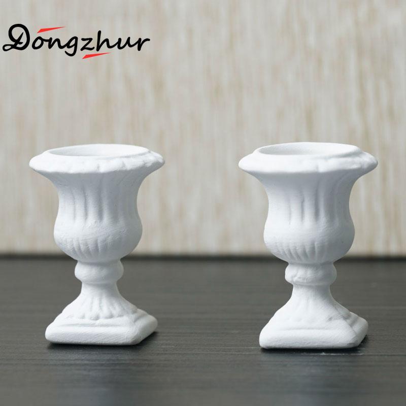 Miniature Dollhouse Furniture 2pc White Flower Pot Child Puzzle DIY ...