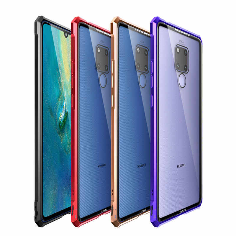Luxury Metal Bumper for Huawei Mate 20 lite case side Tempered Glass back cover for Huawei Mate 20x pro case Aluminum frame