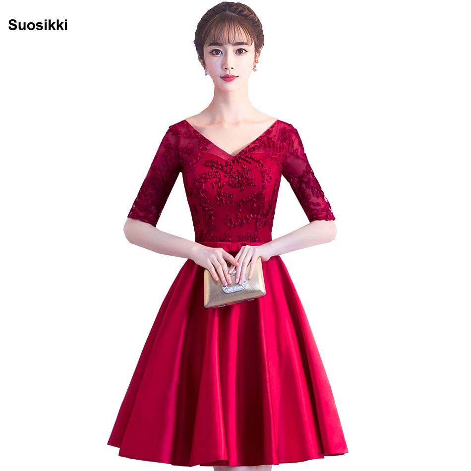 V-Neck Half Sleeve Embroidery   Cocktail     Dresses   lace beading Formal Evening party   Dress   short 2019