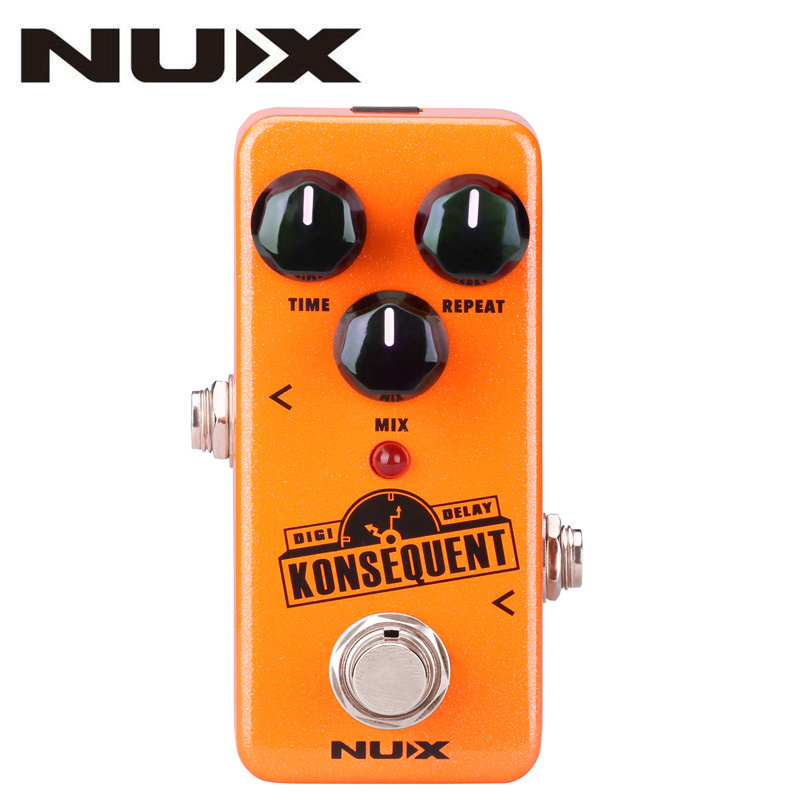 NUX NDD-2 KONSEQUENT Digital Delay Guitar Effect Pedal 800ms Delay Range Tap Tempo Function Full Metal Shell True Bypass Parts new effect pedal mooer solo distortion pedal full metal shell true bypass