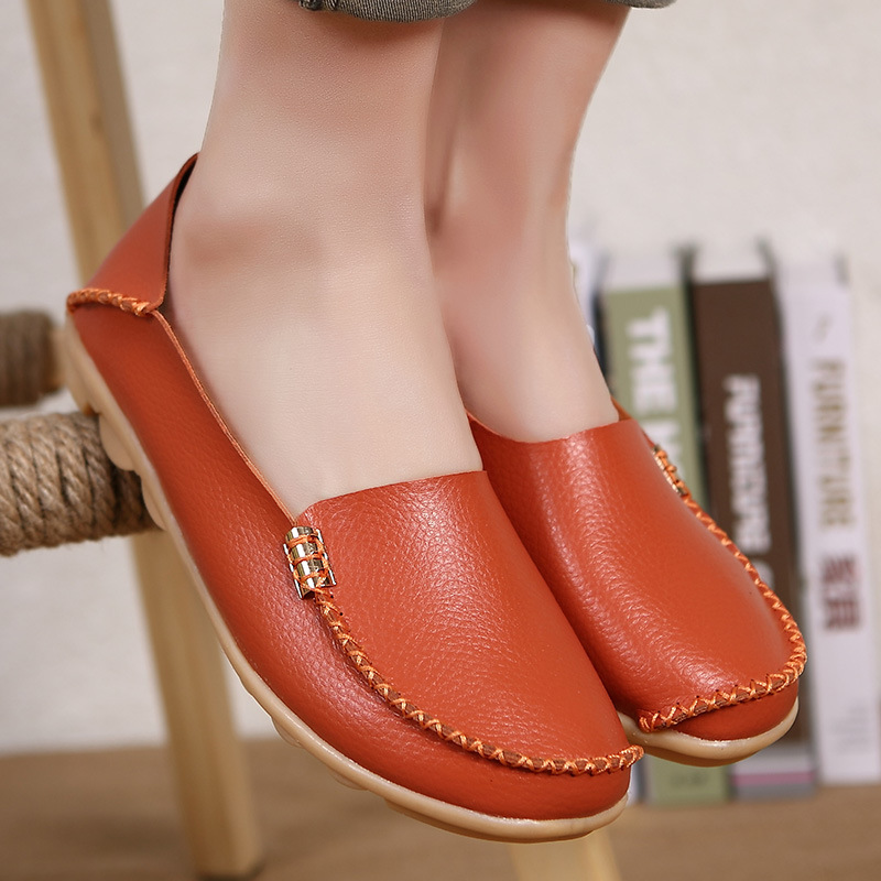 Fashion Women Ballet Flats Genuine Leather Loafers Summer Women Casual Shoes Flat Comfortable Slip On Moccasins