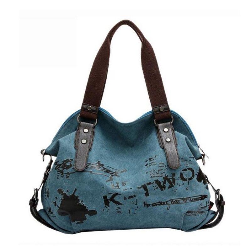 New Korean Trend Female Canvas Tote Bag Fashion Retro Single Shoulder Bags For W