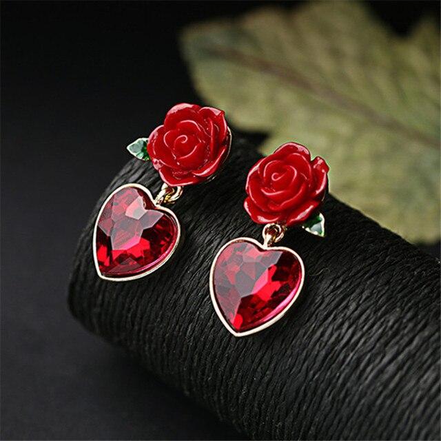 Изысканные ювелирные изделия, оптовая продажа, подвеска в виде красного сердца, серьги-гвоздики с розой, женские модные аксессуары, серьги-гвоздики с кристаллами, свадебные украшения