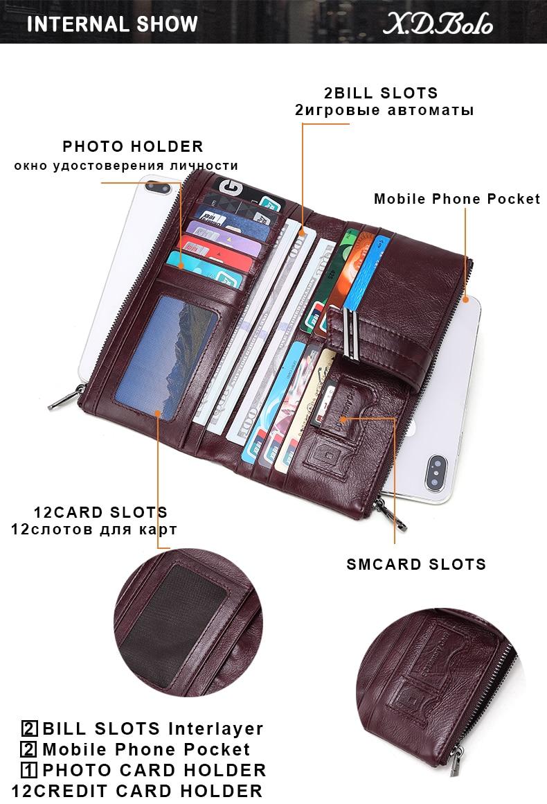 embreagem longa grande capacidade carteiras de couro