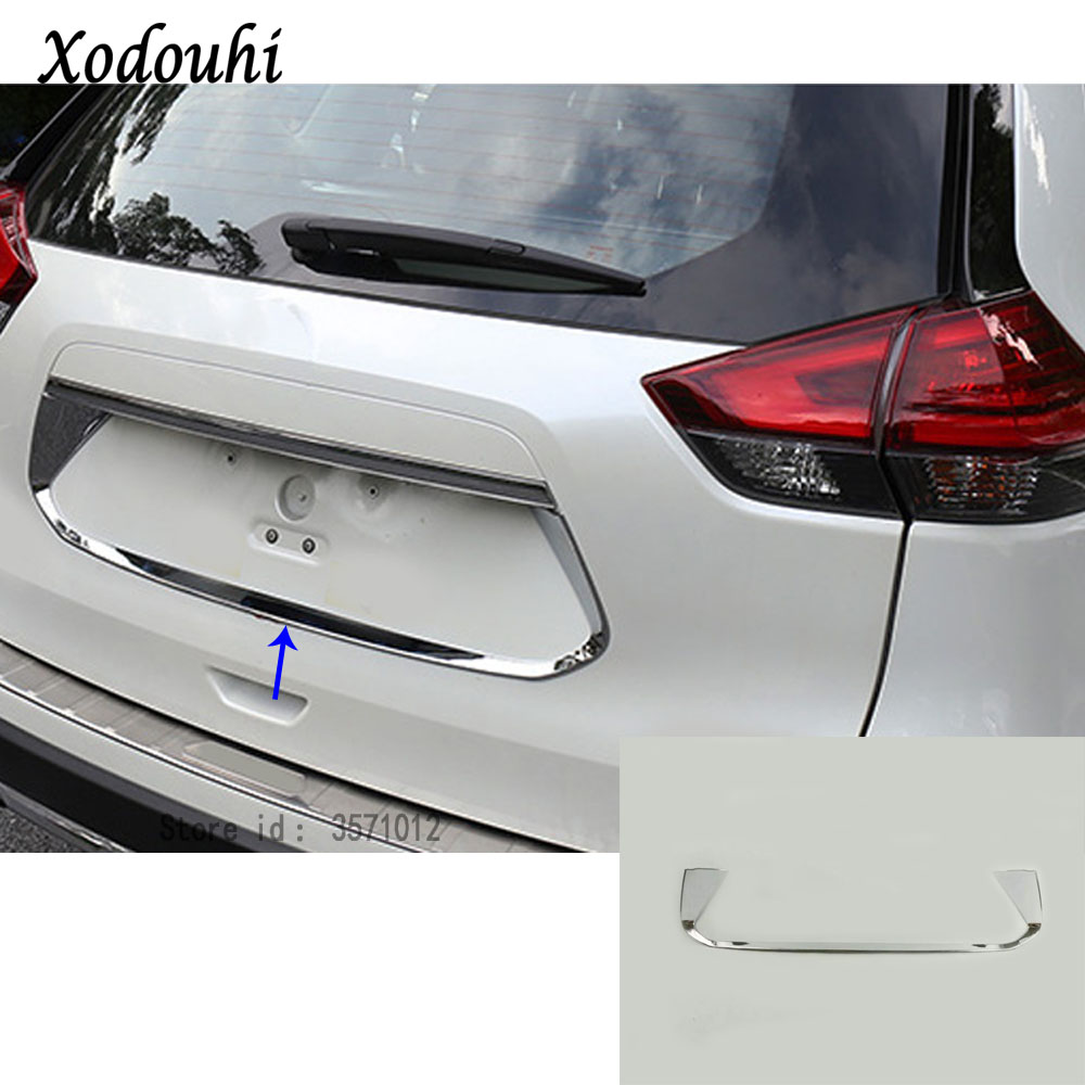 For Nissan X-Trail XTrail T32/Rogue 2014 2015 2016 Car stick detector ABS back Rear license frame plate trim Strip bumper hoods for nissan x trail xtrail t32 rogue 2014 2015 2016 abs chrome front engine machine grille upper hood stick lid trim lamp 1