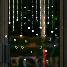 The Star Pendant Hanging Christmas Wall Sticker Decorates  Sitting Room Window Glass Stick Curtain Pattern Home Decor