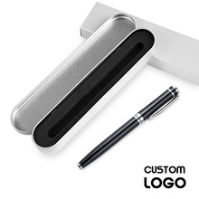 1pc New Metal Gel Pens Hotel Business Gift Pens Students Stationery Office Supplies Signature Pen Laser Custom Logo With Pen Box 1pc high end matte black rollerball pen metal hero business office signature neutral pens with a luxury gift box