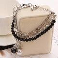 Vintage Silver Multilayer Chain Bracelet Black Beads Bracelet Simulated Pearl Tower Charm Bracelets