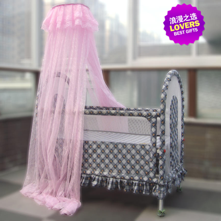 Luxury Floor Type Crib Mosquito Net vertical Crib Palace Mosquito Net 100% Polyester Jacquard Mesh Fabric Baby Bed Mosquito Net