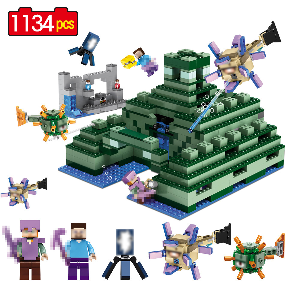 The Ocean Monument Building Blocks Compatible LegoINGLY Minecrafted 21136 Mini Sets Figures Bricks Toys For Children Gifts kl069 single sale the x files agent vol 1 uma thurman the bride bricks building blocks figures for children gifts toys kl9011