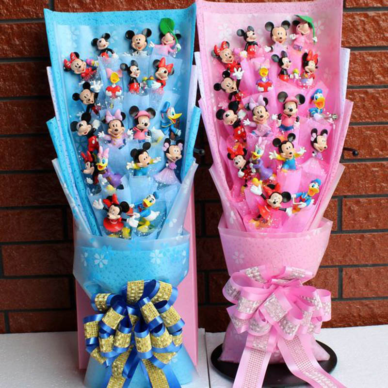 58cm*25cm*12 Cm Mickey Mickey Toy Figures Festivals Doll Toys Kids With Fake Flowers Birthday Valentine's Day Gift Without Box