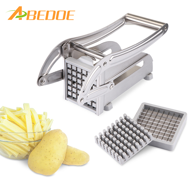e51f16373f5 ABEDOE Stainless Steel Potato Cutter Fruit Vegetable Slicer French Fry  Chopper Tool Potato Cutting Machine with 2 Blades