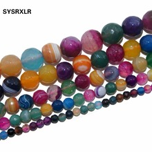 Free Shipping Faceted Colorful Agat Natural Stone Beads For Jewelry Making DIY Bracelet Necklace 4 6 8 10 12 MM Strand 15.5