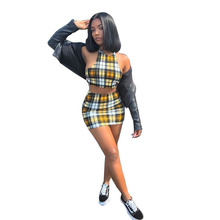 2019 Summer Plaid Striped Short 2 Piece Skirt and Crop Top Set for Women Plus Size Co-ord Matching Set Party Festival Clothing overlap crop top and plaid skirt