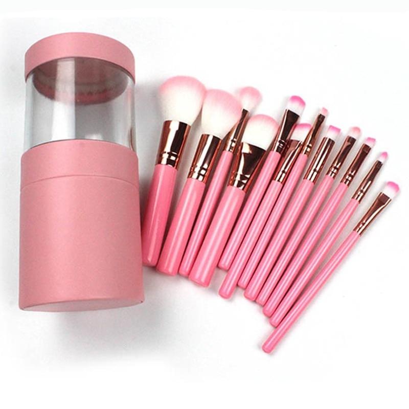 12 Pcs Make-Up Pinsel Set Lidschatten Foundation Augenbrauen Lip Gesicht Pinsel kosmetik Make-Up Pinsel Werkzeug + Leder Tasse Halter fall Kit