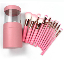 12 adet makyaj fırça seti göz farı vakfı kaş dudak yüz fırça kozmetik makyaj fırçalar aracı + deri bardak tutucu durumda kiti