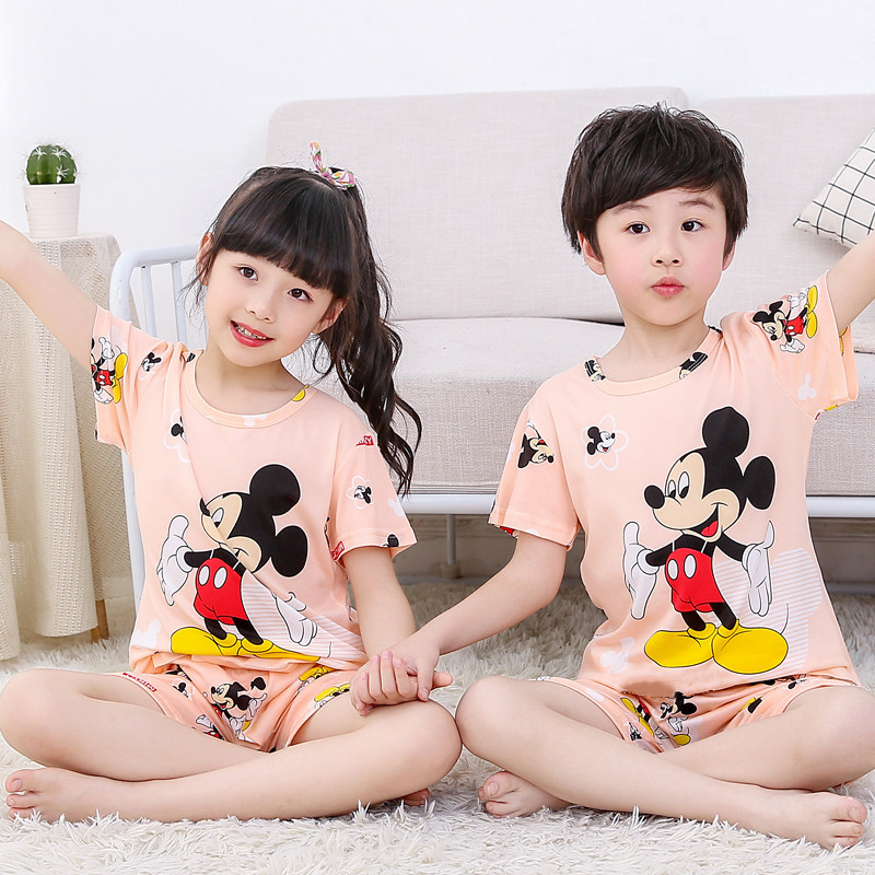 Cartoon Kids Mickey Pajamas Set Pullover Short Sleeve Tops + shorts Children Mickey Sleepwear Teenagers Pajamas Set For Kids(China)