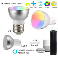 Smart Bulb E27/GU5.3/GU10 RGBW 6W LED Dimmable Light Cup WiFi App Remote Control Light for Alexa Google Home Assistant IFTTT|Home Automation Modules| |  -