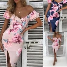 ZOGAA Floral Off Shoulder High Waist beach print Maxi Dresses women Summer plus size Sexy Skinny Slim Party Evening Long Dress