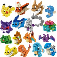 blocos Also helping toys LNO block toy Pikachu Bulbasaur Charmander Squirtle Mewtwo anime Toys for Children