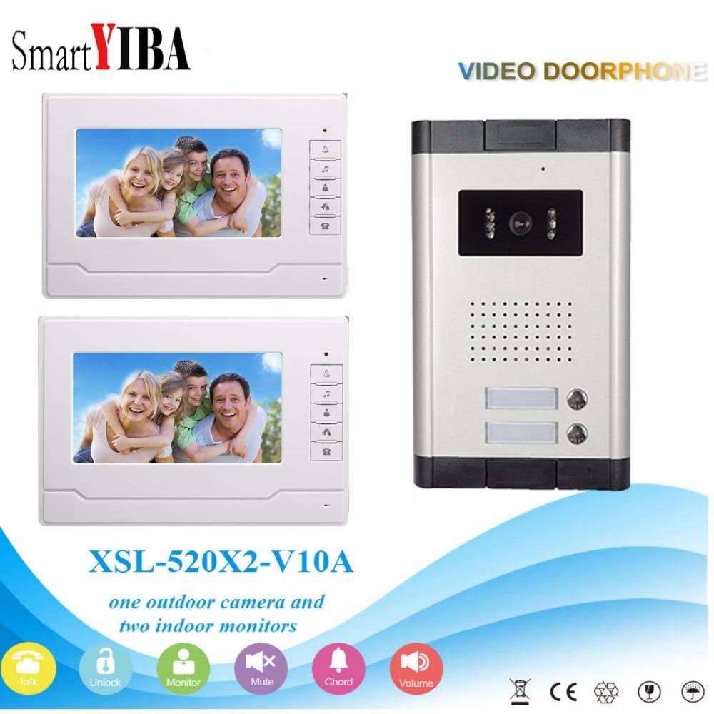 SmartYIBA Video Intercom 7''Inch Wired Color Video Door Phone Video Doorbell Phone Intercom System Kit 2 Monitors+1 IR Camera