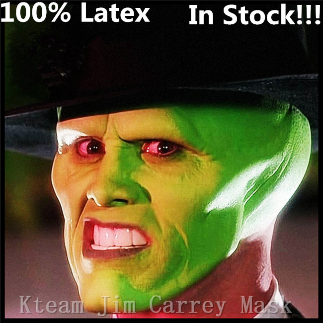 Top Grade Latex Famous Movies The Mask Jim Carrey Male Mask Mens Fancy Dress Superhero Comic Adults Costume Accessories Toy Mask image