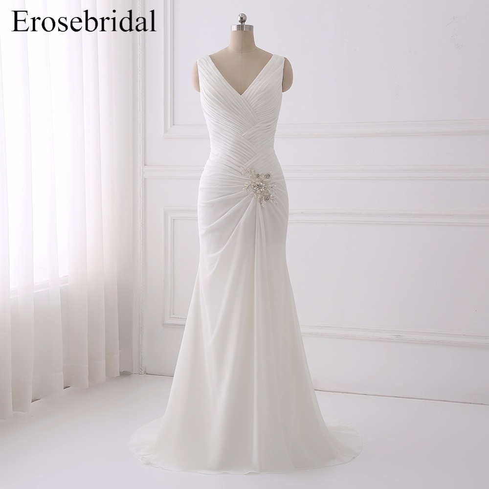 Sexy Illusion Back Mermaid Wedding Dress 2018 Lace Bohemian Dresses Elegant Appliques Bodice Bridal Gown Chiffon Gowns