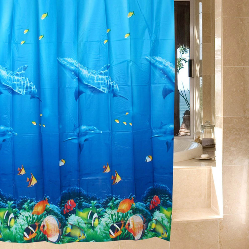 Dolphin Tropical Fish Ocean Theme Shower Curtain Waterproof Opaque Home Curtain With 12 Hooks HG99