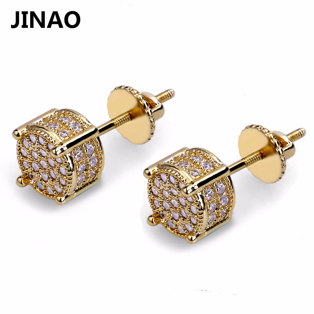 JINAO Gold Color Plated Iced Out Micro Pave Lab Cubic Zircon Stud Earrings With Screw Back Hip Hop Men And Women Jewelry Gifts