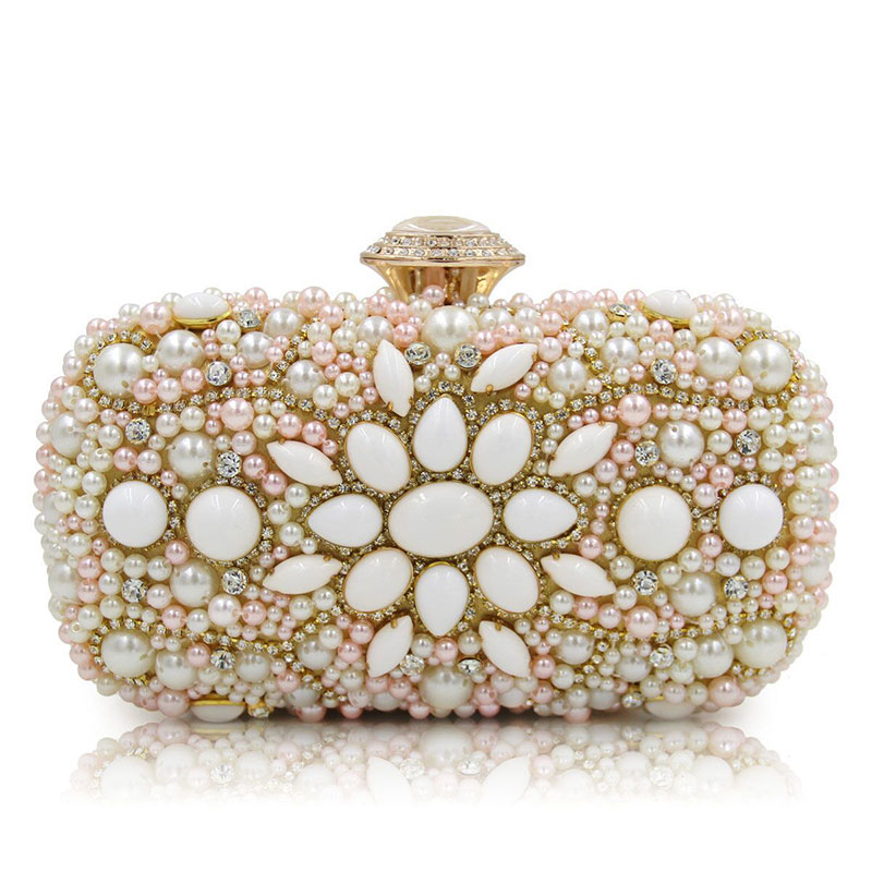 Luxury Crystal Clutch Evening Bag Lady Pink Rose Flower Party Purse Women Wedding Bridal Handbag Fashion Pouch Soiree Pochette