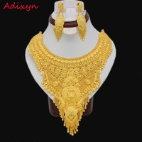 NEW Gold Color Arab Ethiopian Jewelry Big Size Necklace Earrings Jewelry Sets For Women Girls Wedding