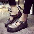 LIN REY Nuevo Estilo de Las Mujeres Zapatos Casuales Punta Redonda Deslizamiento Sólido en Gruesa Suela de Masaje Ocio Zapatos de Hebilla de cuero de LA PU Plataforma Shors