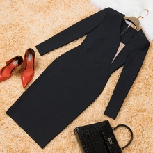 INDRESSME Elegant Black Sexy Asymmetrical Neck Sheath Full Sleeve Midi Autumn Women Lady Bandage Dress Vestidos 2017 New Arrival