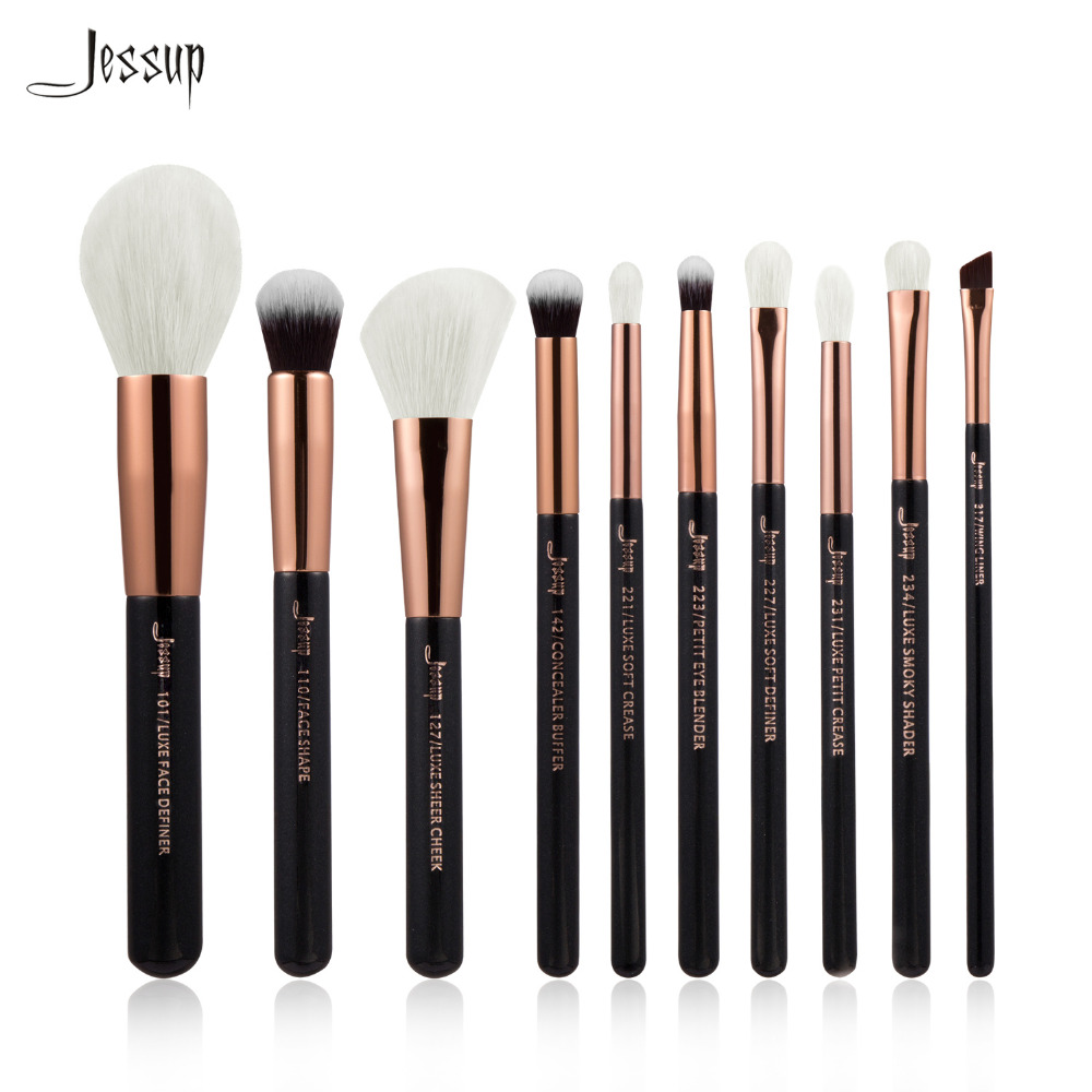 2017 New Jessup Black/Rose Gold Professional Makeup Brushes Set Beauty Tool Make up Brush Foundation Powder Definer Shader Liner jessup 5pcs black gold makeup brushes sets high quality beauty kits kabuki foundation powder blush make up brush cosmetics tool
