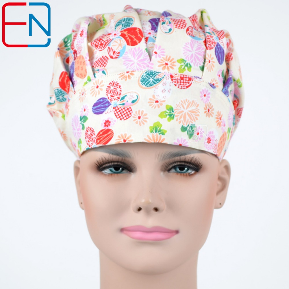 NEW  Surgical Caps Doctors And Nurses Cap And Printed Cotton Cap Long Hair Bouffant Hat Free Shipping