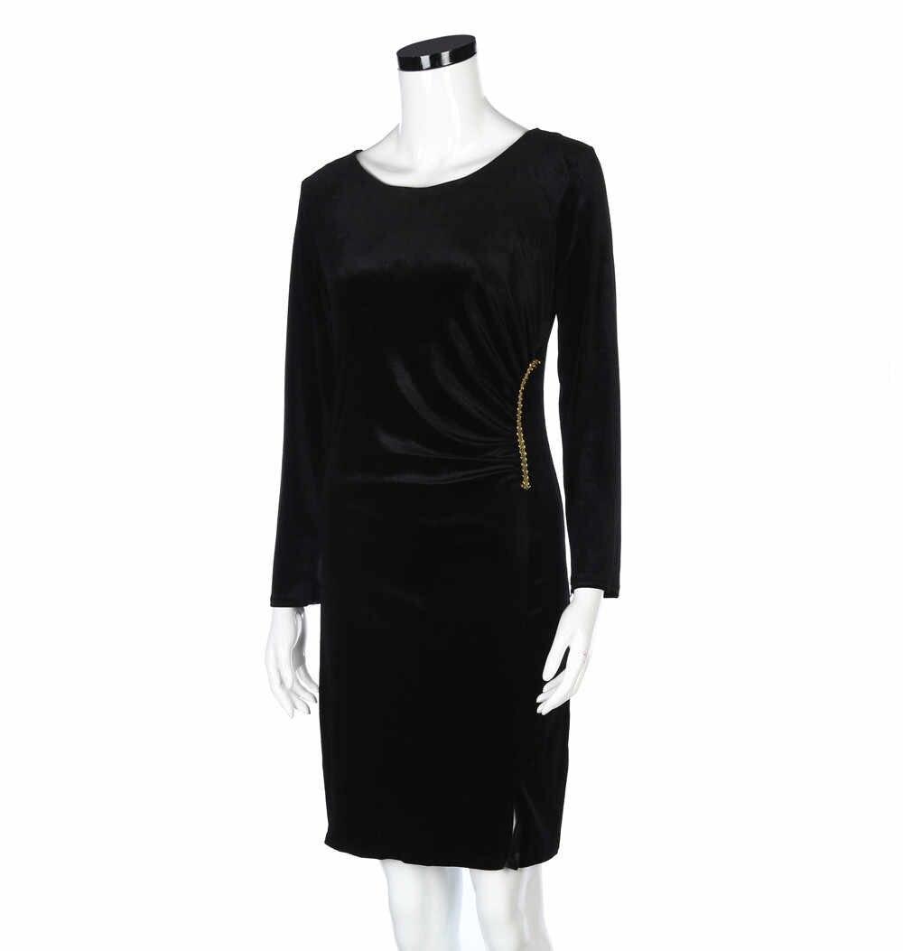 Женская ночь обтягивающее женское платье с длинным рукавом платья бархат Китайский Стиль бархатное китайское платье с разрезами по бокам и воротником-стойкой
