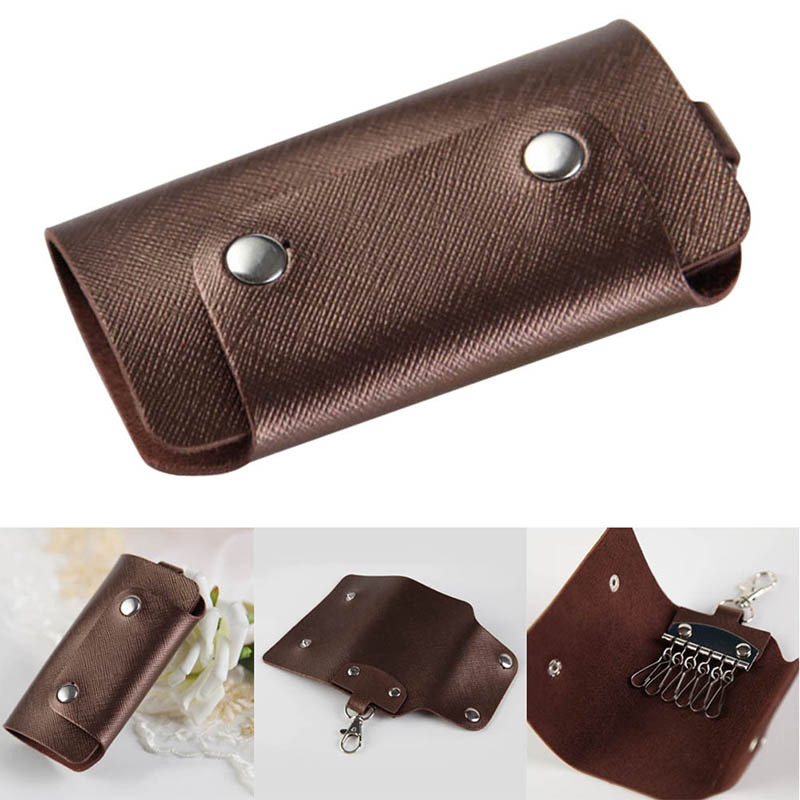 Men Women Key Holder PU Leather Car Key Bag Keychain Bag Case Wallet Holder Cover Chain Key Wallet Pocket Organizer